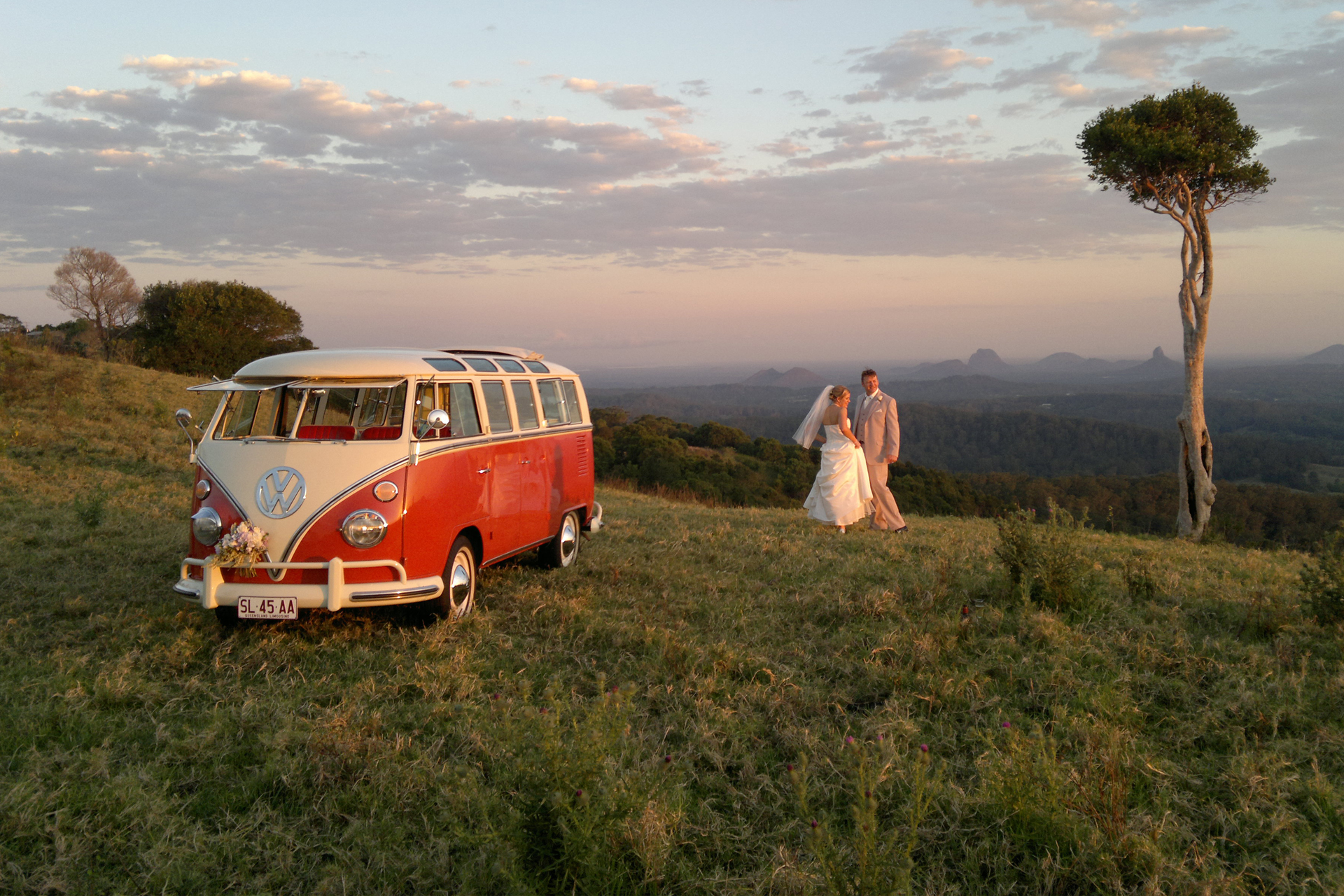 Vintage red Samba Kombi wedding in the Sunshine Coast hinterland.