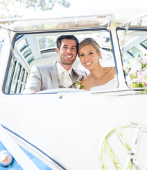 Newly weds enjoying their Deluxe Kombi experience at Noosa wedding.